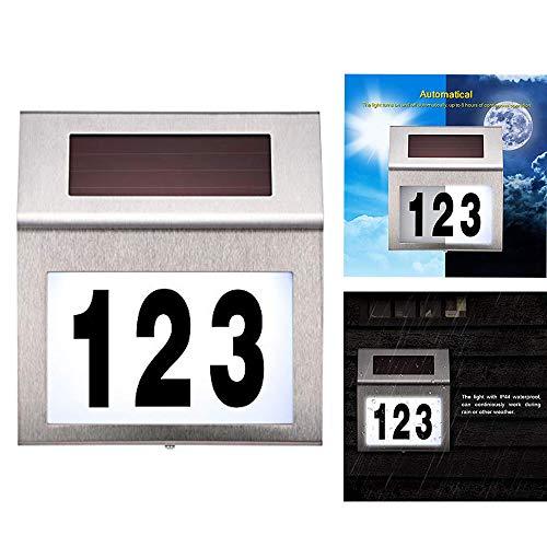 DeeCozy Número de Casa con Energía Solar, a Prueba de Agua Letrero para Casas Placa de Número de Casa de Acero Inoxidable Iluminada para Calle Exterior