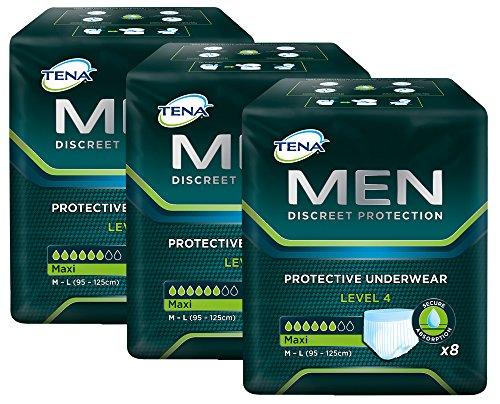 TENA MEN Level 4 - Einweg Schutzunterwäsche für Männer mit mittlerer bis starker Blasenschwäche/Inkontinenz – saugstark & diskret - 24 Hygiene-Einlagen (3 x 8 Stück) - Vorteilspack