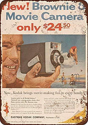1960 Kodak Brownie 8 Cámara de cine Reproducción de aspecto vintage Cartel de chapa de metal 12 X 16 pulgadas