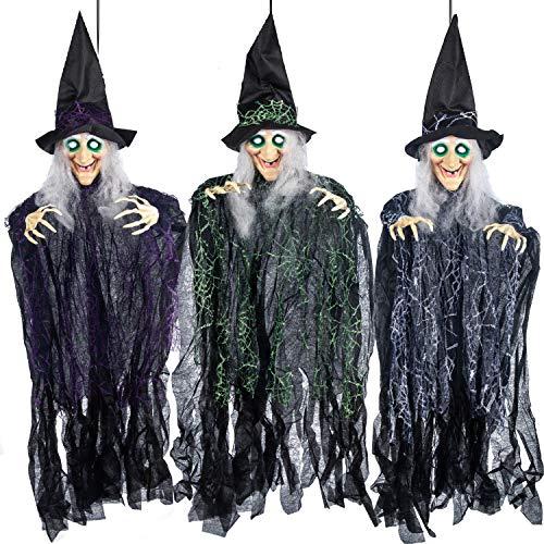 JOYIN 3 Stück Halloween hängende Hexen mit biegsamen Armen, 89,7 cm, Halloween hängende Dekorationen, beste Halloween Innen- und Außendekorationen, Spukhaus Deko