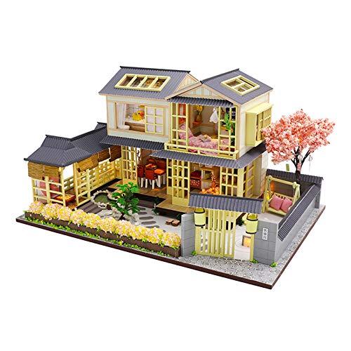SJXM 3D hecho a mano casa de madera en miniatura Kit 1:24 casa de muñecas con muebles y accesorios, sala de estar, dormitorio, cocina, baño, modelo vintage