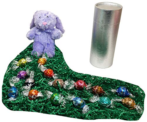 Easter Gourmet Chocolates Gift Basket Box - Lindt Lindor Gourmet Truffles and Plush Easter Bunny Rabbit (Purple Bunny/Silver Box)