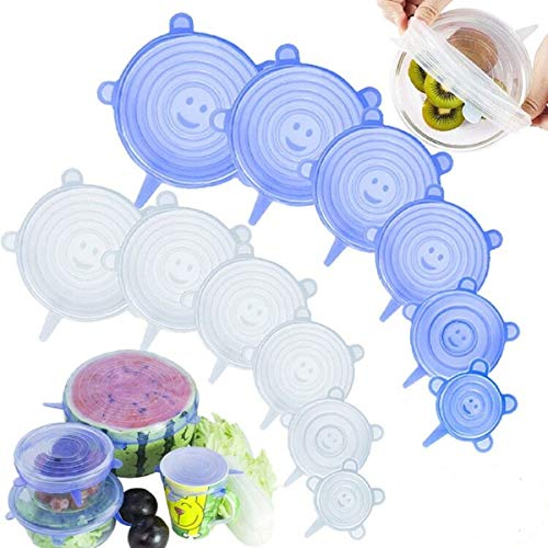 Coperchi elastici in silicone Coperchio flessibile riutilizzabile per alimenti da 12 confezioni Coperchi (Blu+Trasparente)