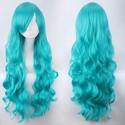 SSXZ Women 80cm Synthetic Long Wavy Yoshino Lolita Cosplay Fashion wig Curly Hair Red Purple Pink Black Yellow Green White Gray Blue 80cm 9