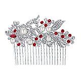 EVER FAITH Bridal Hair Comb Rhinestone Pearl Bride Hair Accessories Flower Wedding Hair Piece for Bridesmaids Red Silver-Tone