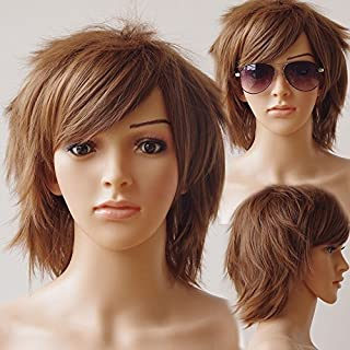 Unisex Women Short Curly Straight Cosplay Wig Anime Hair Tail Full Wigs Heat Resistant Synthetic Wig Wigs Japanese Kanekalon Fiber 20 Colors Full Wig for Women Lady Fashion and Beauty (light brown)…