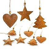 Logbuch-Verlag 9 colgantes de Navidad marrón oxidado con forma de corazón + estrella + árbol, decoración de Navidad de metal oxidado, estilo vintage