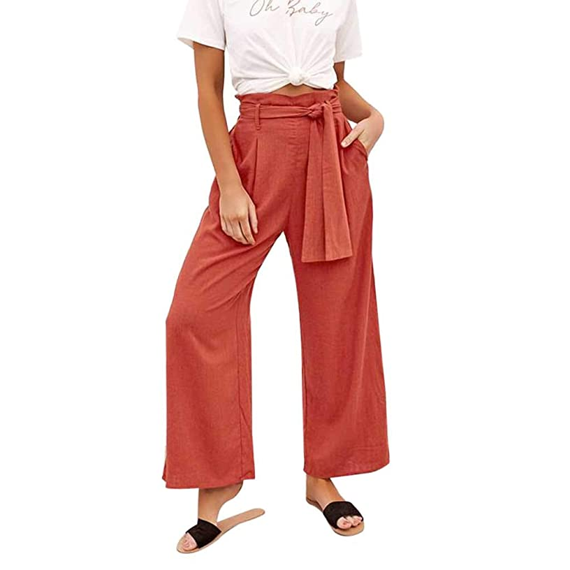 iYYVV Women Solid Casual Belt High Waisted Loose Wide Leg Pants Yoga Long Trousers
