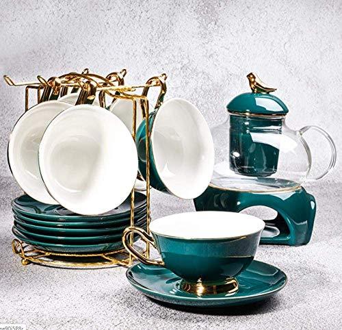XiYou Juego de té de cerámica de Lujo pequeño Europeo Tazas y platillos domésticos de cerámica Utensilios de café-Azul