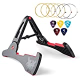 Vangoa AGS-03 Folding Anti-slipping Guitar Stand for Acoustic/Electric Guitars, Bass, Ukulele, Banjo and violin with 6 Acoustic Guitar Strings and 5 Picks