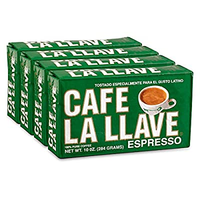 Café La Llave Espresso, 100% Pure Coffee, Dark Roast Ground Coffee (4 x 10 Ounce Bricks)