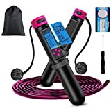 321OU Jump Rope - Jump Rope with Counter with Electronic Time Calorie Counter, Skipping Rope for Children Adult Women Indoor Outdoor Sports Weight Loss Exercise (Pink)