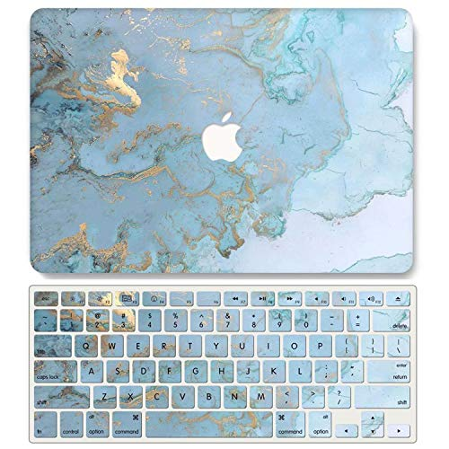 One Micron Case and Keyboard Cover Compatible with MacBook Pro Retina 13 Inch, Plastic Pattern Hard Case Shell Compatible MacBook Pro Retina 13.3 Inch No CD-ROM (Model: A1502/A1425)-Gold Blue Marble