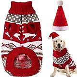 Disfraces de Navidad de Perros Ropa de Vacaciones de Mascotas Suéter de Copo de Nieve Renos de Mascotas y Sombrero de Navidad Santa para Perro Perrito Cachorro (L)