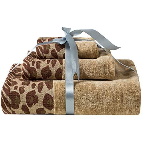 WOVELOT - Juego de toallas de mano con estampado de leopardo para adultos y adultos (3 piezas)
