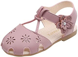 Baby Infant Girls Soft Floral Princess Mary Jane Shoes Wedding Pearl Hollow Sandals