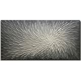 Amei Art Paintings, 24X48 Inch Paintings Oil Hand Painting 3D Hand-Painted On Canvas Abstract Artwork Art Wood Inside Framed Hanging Wall Decoration Textured Abstract Oil Paintings (Elegant Gray)