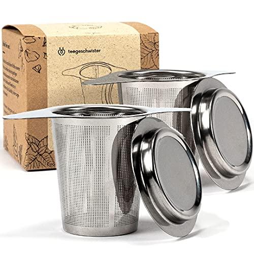 teegeschwister® | 2X Feines Teesieb für losen Tee | Teefilter aus rostfreiem Edelstahl mit Deckel/Abtropfschale | breiter Doppelgriff für Verschiedene Tassengrößen