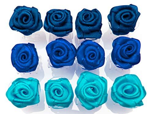 OiA 12 Stück Haarspangen mit Rosen | Haarschmuck für Frauen, Kinder, Haarnadeln, Blumen für Frisuren | Farbe: Blautöne und Marine