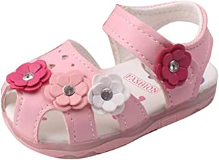 Beppter Toddler Baby Kid New Flowers Girls' Prewalker Soft-Soled Lighted Soft-Soled Princess Sandals Baby Shoes(Pink, 9-12Months)
