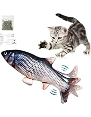 Moving Cat Kicker Fish Toy, DILISS Realistic Flopping Fish, Wiggle Fish Catnip Toys, Motion Kitten Toy, Plush Interactive Cat Toys, Fun Toy for Cat Exercise, Floppy Fish Cat Toy - Gray (Gray)