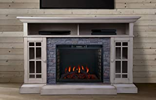 ALLENHOME Bennett Infrared Electric Fireplace TV Stand, Farmhouse Ivory - ASMM-017-2866-S404-T