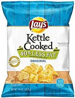 Lays Kettle Cooked Original Chips 40% Less Fat Case of 64 - 1.375 Ounce Bags