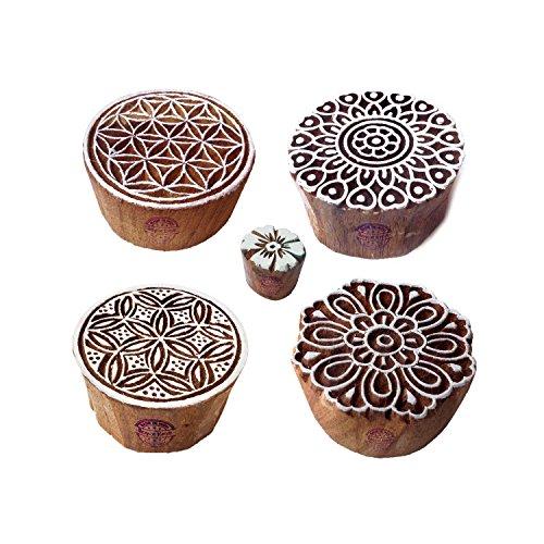 Jaipuri Motif Tondo e Fiore Legno Timbri Blocchi (Set di 5)