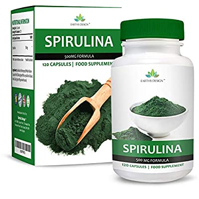 Spirulina Extract - 500mg Spirulina Powder - Suitable for Vegetarians - 120 Capsules (2 Month Supply) by Earths Design