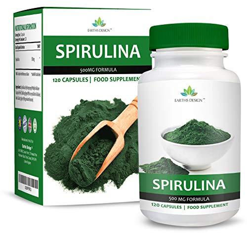 Spirulina Extrakt - 500mg Reines Spirulina Pulver - Reich an Kalzium, Magnesium, Protein, Vitamin B12 & Eisen - Geeignet für Vegetarier - 90 Kapseln von Earths Design