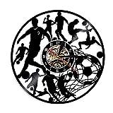 NIUYGB Fútbol Creativo Reloj de Pared Disco de Vinilo LED Reloj de Pared Jugador de fútbol pateando Arte Silueta Equipo Deportes Escuela decoración