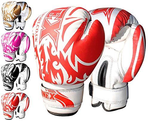 ONEX Guantoni da Boxe per Bambini Punzonatura dei Guanti Lotta di MMA Guanti Kickboxing Allenamento Arti Marziali Boxing Glove 6oz (Red)