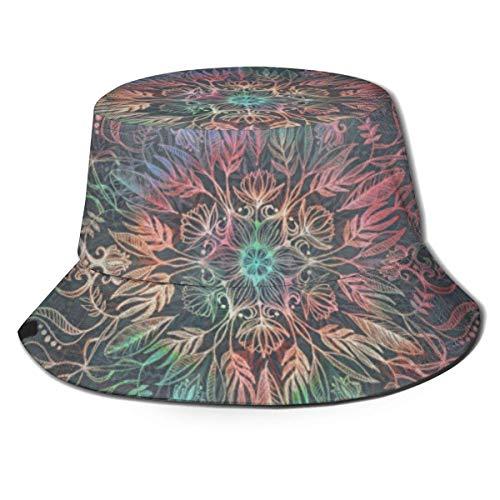Hdadwy Sunset Mandala en patrón de carbón, Sombrero de Pescador Unisex, Sombrero de Playa para Viajes de Ocio, Gorra Transpirable con protección UV