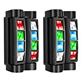DJ Lights, 8 x 3W LED Stage Lights RGBW, Sound Activated/DMX Lighting, Moving Head Lights for Church, Event, Concert, Party, Club Lighting (2 Pack)