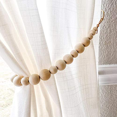 ZILucky Set of 2 Curtain Tie Backs, Natural Wood Drape Tiebacks, Window Treatment, Farmhouse Garland, Boho Decor Accessories (Primary Color Beads - Khaki Leather Cord)