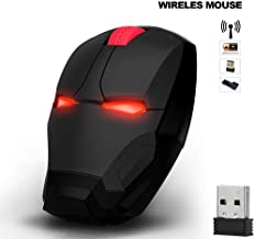 Avengers Endgame Iron Man Mouse Wireless Mouse Ergonomic 2.4 G Portable Mobile Computer Click Silent Mouse Optical Mice with USB Receiver Gaming Mouse (Black)