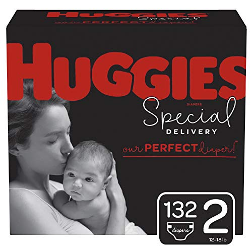 Huggies Special Delivery Hypoallergenic Diapers, Size 2 (12-18 lb.), 132 Count, One Month...