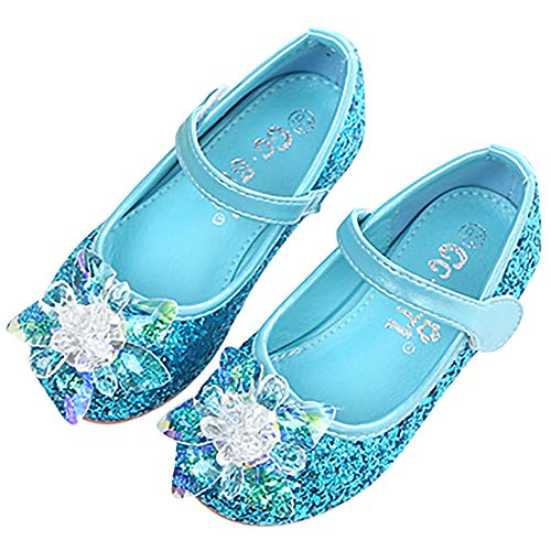 YOSICIL Niñas Zapatos de la Princesa Elsa Zapatos de Fiesta de Tacón con Lentejuela Zapatos de Bodas Disfraz Frozen Elsa para Regalo de Cumpleanos para 4-12 Años