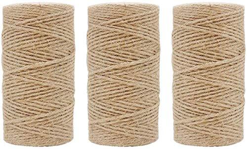zyh (Marrón) 1000 pies 2 mm Cuerda de Yute Natural 3 Capas Cuerda de Yute Cuerda de Yute para floristería,Regalos,Manualidades y Manualidades,decoración,agrupación,jardín y Reciclaje