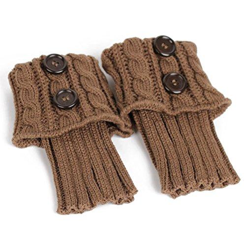 Pixnor Damen stricken Stulpen Socken Gestrickte kurzer Punkt Legwarmer Boot-Abdeckung Socken Khaki