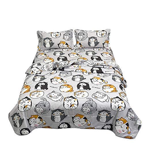 Chickwin Colcha de Verano Colcha Acolchada para Cama,Caricatura Imprimir Edredón Reversible Colchas Suave Manta de Dormitorio para Cama Individual Matrimonio (Gato de Dibujos Animados,200x230cm)