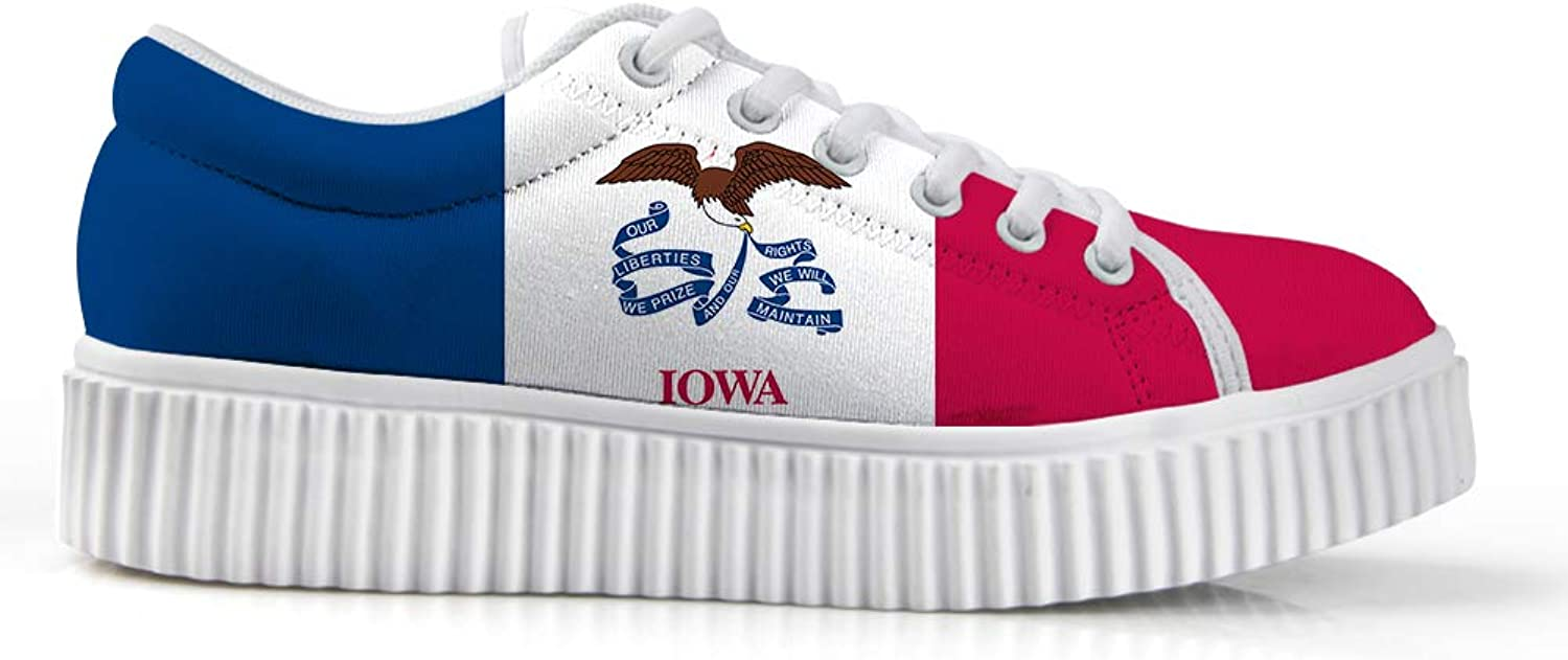 Owaheson Platform Lace up Sneaker Casual Chunky Walking shoes Low Top Women Hawkeye State Iowa Flag