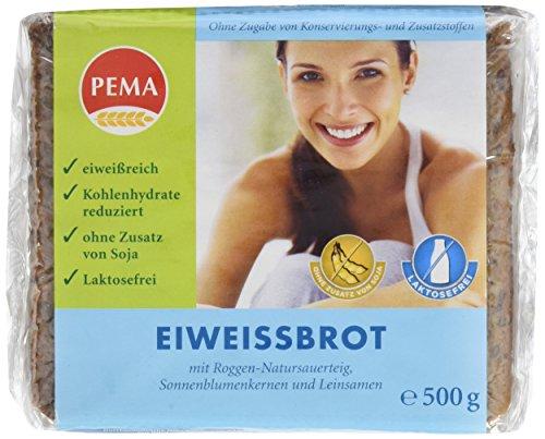 PEMA Eiweissbrot 6x500g, Vollkornbrot mit Roggen-Natursauerteig, Sonnenblumenkernen und Leinsamen; Eiweiß angereichert und Kohlenhydrate reduziert, 1er Pack (1 x 3000 g)