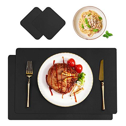 CHONLY Tischset PU Kunstleder 2er Sets Wasserdicht Platzset Lederoptik Abwischbar Hitzebeständig Platzdecken PU Leder 42x30cm und Glasuntersetzer für Hause Küche Restaurant und Hotel Schwarz