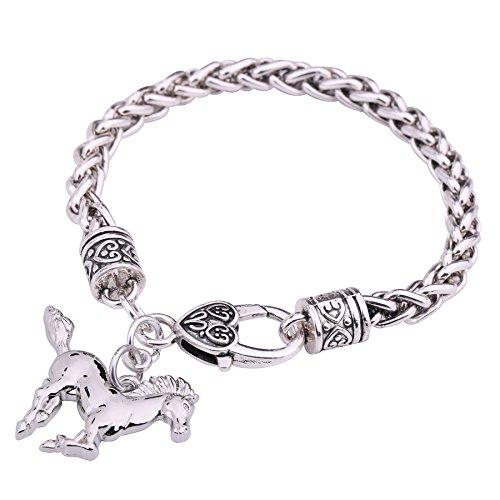 My Shape - Braccialetto a catena con maglie a forma di chicco di grano, con ciondolo a forma di cavallo, color argento, regalo per le amanti dei cavalli