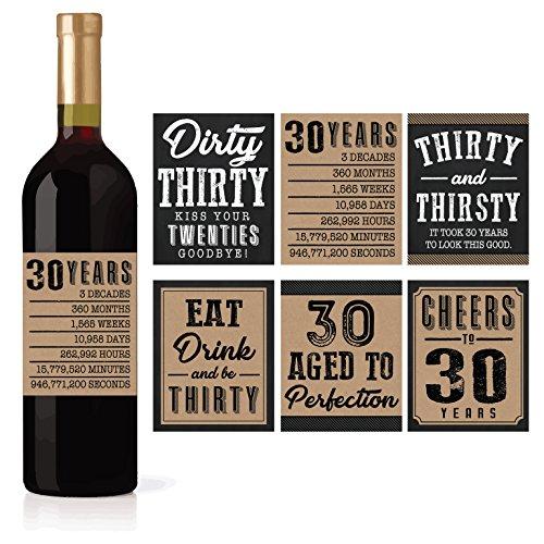 Etiketten für Wein- oder Bierflaschen zum 30. Geburtstag, 1989, lustige, einzigartige Party-Dekorationen und Neuheit für Mann und Ehemann, 6 Stück