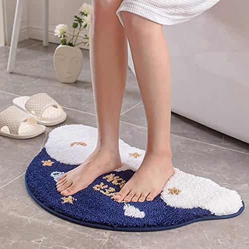 SDINAZ Alfombrillas de baño Antideslizantes Lavables Alfombras de baño Moquetas Alfombrillas para bañera para Ducha Forma de Nube Azul