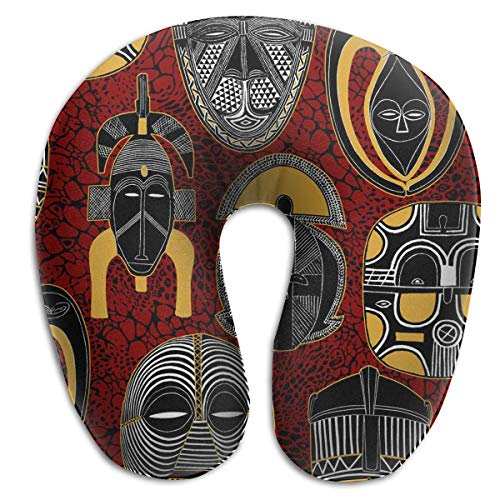 Máscara africana de espuma viscoelástica almohada de viaje redonda en forma de U para el cuello y la cabeza de apoyo alivia la fatiga cervical para dormir, aviones, tren y camping