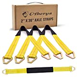 Otherya 2inch X 36inch Long Axle Tie Down Straps with D-Ring and Protective Sleeve -10,000 Pound Capacity - Auto Car Hauler Tie Downs Tow Wrecker for Demco Kar Kaddy Dollys (Pack of 4)