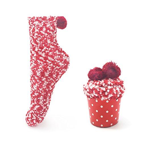 Leapop 1 oder 3 Paare Damen Mädchen Socken Cupcakes Design Flauschig Gemütliche Weiche Dicke Warme Weihnachtssocken mit Geschenkbox (Rot (1 Paar))